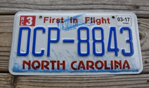 North Carolina State Official License Plate One of Two