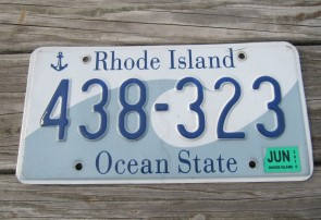 Rhode Island State Official License Plate