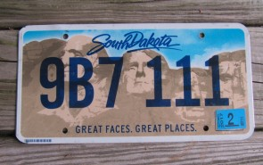 South Dakota State Official License Plate