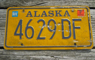 Alaska Blue Yellow License Plate 1990's