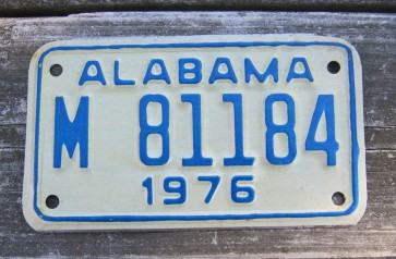 Alabama Motorcycle License Plate White Blue 1976