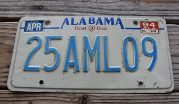 Alabama Heart of Dixie License Plate 1994 25AML09