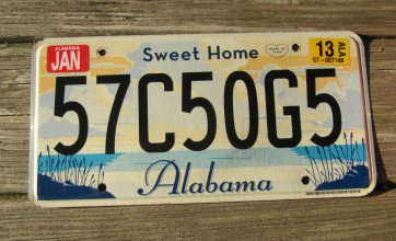 Alabama Sweet Home License Plate 2013