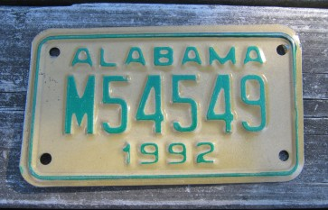 Alabama Motorcycle License Plate Gold Green 1993