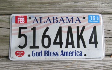 Alabama God Bless America License Plate 2016