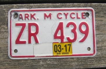 Arkansas Motorcycle License Plate Red White 2017
