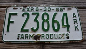Arkansas Farm Products License Plate 1968