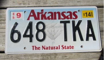 Arkansas Diamond The Natural State License Plate 2014