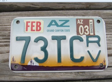 Arizona ATV License Plate Sunset Cactus Grand Canyon State