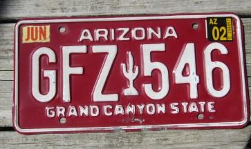 Arizona Grand Canyon State Red White License Plate 2002