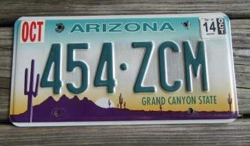 Arizona Sunset Cactus Embossed License Plate Grand Canyon State 2014
