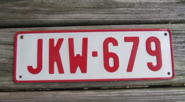 Belgium Red White License Plate