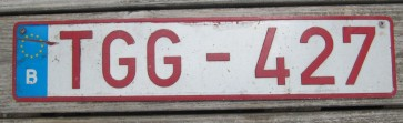 Belgium Red White Euroband License Plate TGG 472