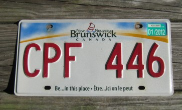 Canada New Brunswick Be in This Place License Plate 2012