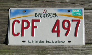 Canada New Brunswick Be in This Place License Plate 2011