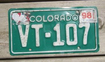Colorado Motorcycle License Plate Green White 1998