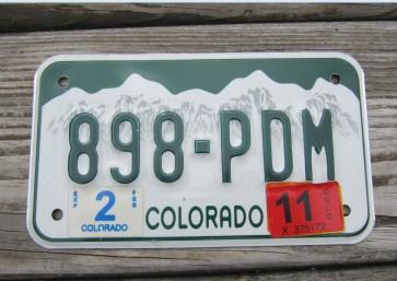 Colorado Motorcycle Mountains License Plate 2011