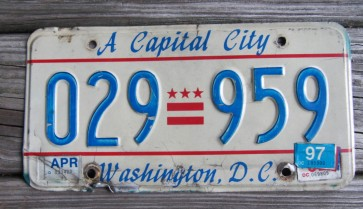 District of Columbia License Plate Washington DC Celebrate and Discover 1997