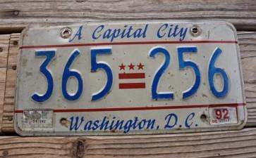 Washington DC License Plate District of Columbia 1992