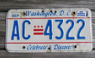 District of Columbia License Plate Washington DC Celebrate and Discover