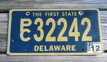 Delaware The First State License Plate 2012