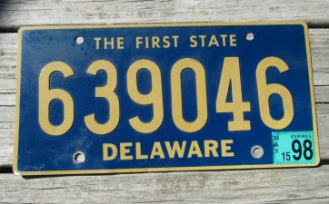 Delaware Riveted License Plate The First State 1998