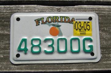 Florida Orange Motorcycle License Plate 2005