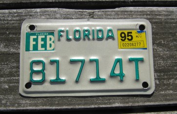 Florida Motorcycle License Plate Green Letters 1995