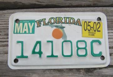 Florida Motorcycle License Plate Big Orange 2002