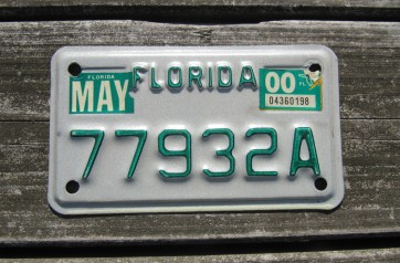Florida Green Letters Motorcycle License Plate 2000