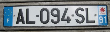France Euro Band License Plate AL 094 SL