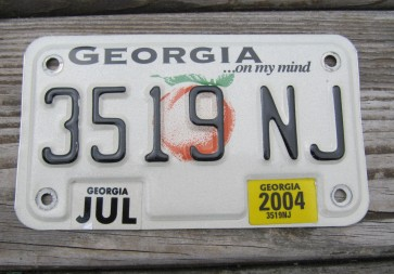 Georgia Motorcycle License Plate On My Mind Peach 2004