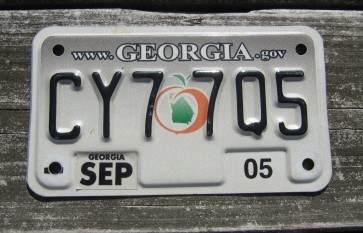 Georgia Motorcycle License Plate Peach State 2005