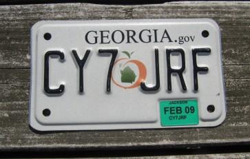 Georgia Peach Motorcycle License Plate 2009