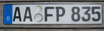 Germany Euroband License Plate City of Aalen & Ostalbkreis, Baden-Württemberg AA FP 835 German