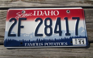 Idaho Scenic Famous Potatoes Embossed License Plate 2014