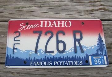 Idaho Scenic  Famous Potatoes Trailer License Plate 1995
