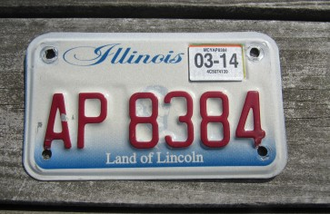 Illinois Motorcycle Land of lincoln License Plate 2014