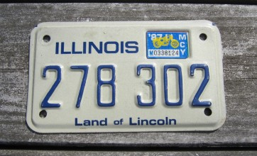 Illinois Land of Lincoln Motorcycle License Plate 1987
