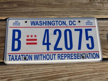Washington DC Bus License Plate District of Columbia Taxation Without Representation