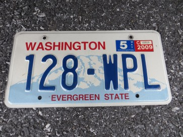 Washington Mt Rainier Volcano License Plate 2009