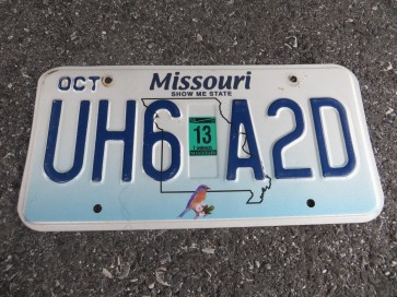 Missouri Blue Bird License Plate 2013 Show Me State