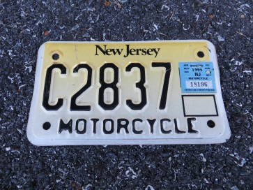 New Jersey Yellow Fade Motorcycle License Plate 1995