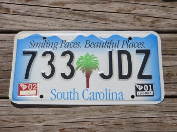 South Carolina Smiling Faces Beautiful Places License Plate 2001