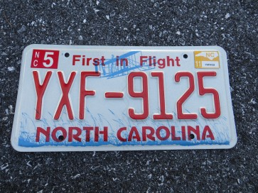 North Carolina First In Flight Red Letters License Plate 2011
