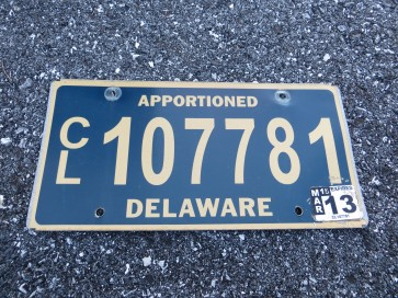 Delaware Apportioned The First State License Plate 2013