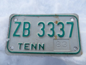 Tennessee Motorcycle License Plate 1983