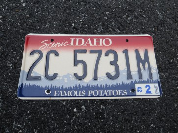 Idaho Famous Potatoes License Plate 2002