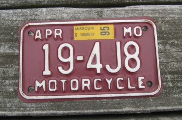 Missouri Red White Motorcycle License Plate  1995