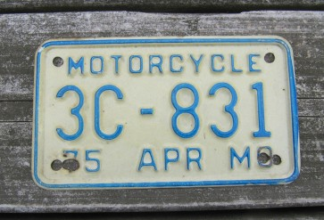 Missouri Blue White Motorcycle License Plate  1975